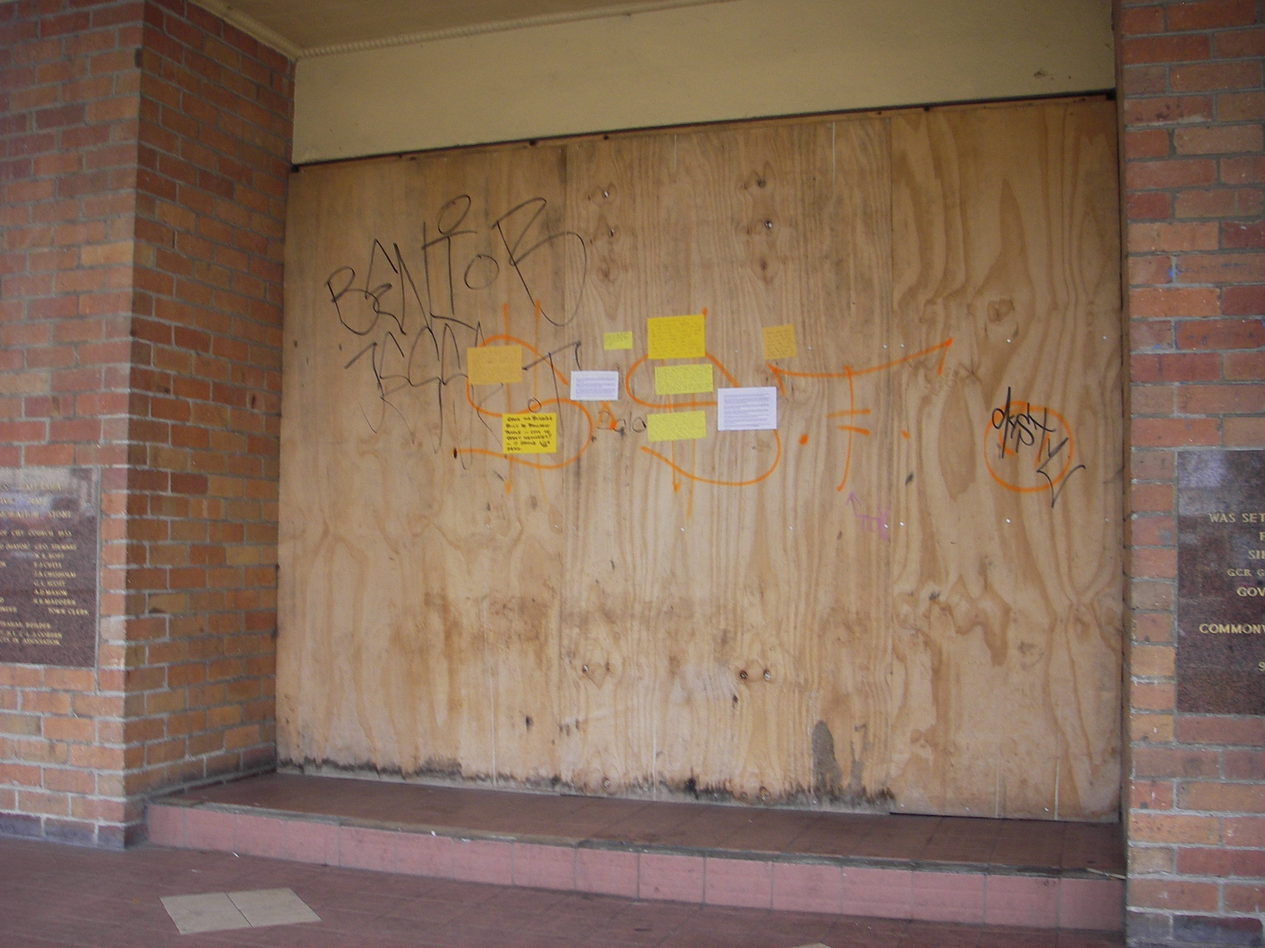 Yellow notices on door 18 May